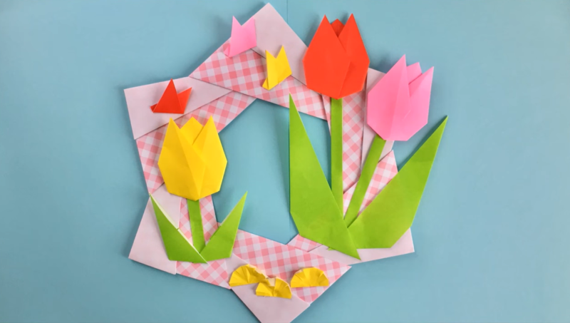 Новым, открытка ко дню матери оригами два лепестка